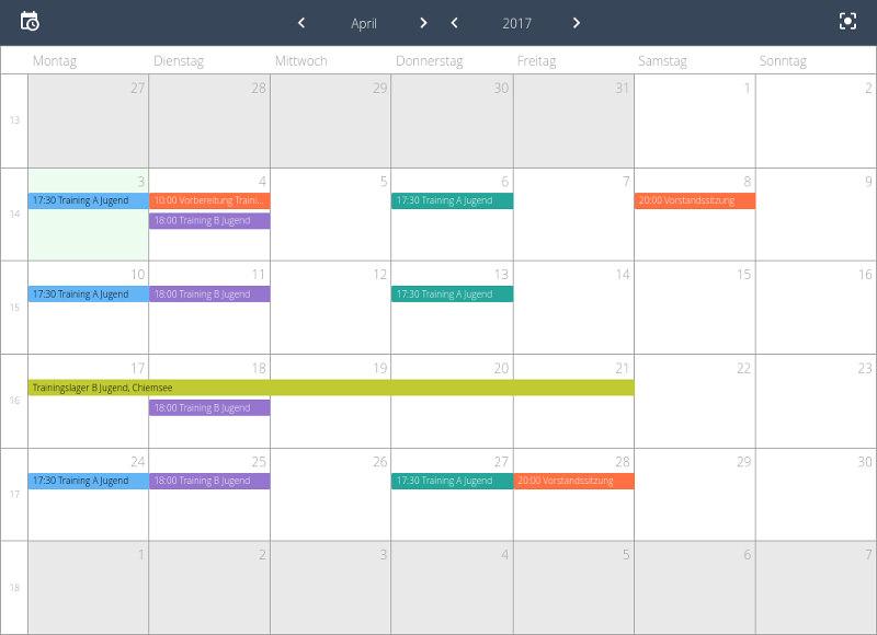Vereinskalender teilen