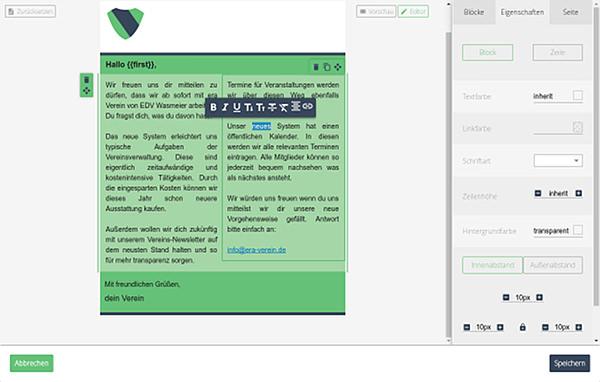 E-Mail Baukasten und Vorlagen